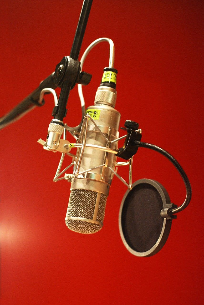a  pop filter  (the(black thing on the right) helps eliminate the proximity effect